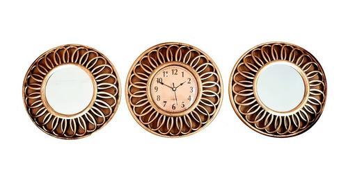 Imagen 1 de 5 de Reloj Pared + 2 Espejo Mural Diseño Redondo Dorado 25cm