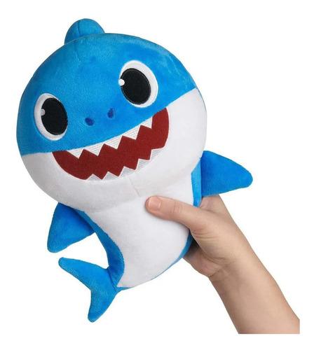 Imagem 1 de 5 de Pelúcia Baby Shark - Azul 30cm Musica Som Bebê Tubarão Sunny