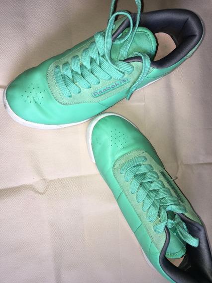 Zapatillas Reebok 38, Excelente Estado De Cuero Verdes