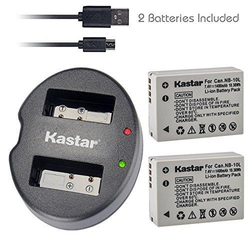 Batería Kastar (x2) Y Cargador Usb Dual Para Canon Nb-10l,