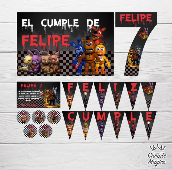 Kit Impreso Personalizado Five Night At Freddy Cumpleaños
