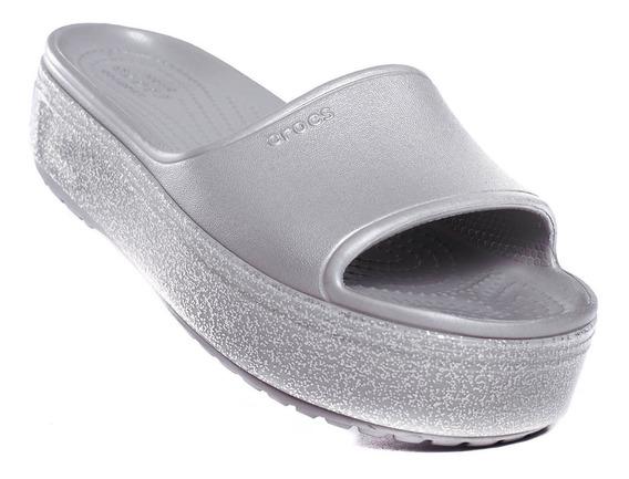 Ojotas Crocs Crocband Platform Metallic Slide -c205913-041-