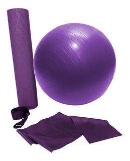 Kit Treino Yoga Com Bola Roxa Wct Fitness 500103