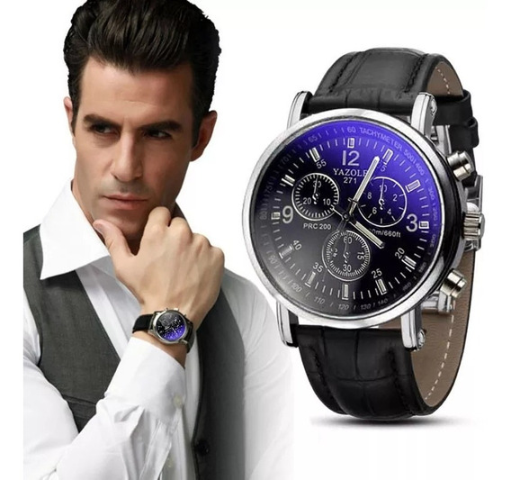 Relógio Masculino Faux Leather Men Blue Ray Vidro