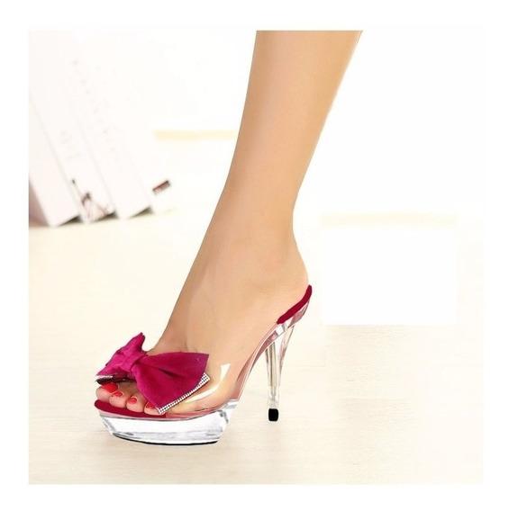 Sandalia Transparente Acrilico Salto Cristal Laço Vermelho