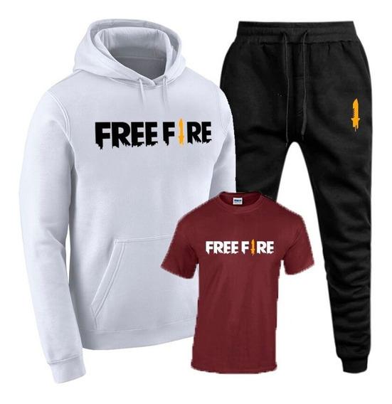 Conjunto Moletom Masculino + Calça+ Camiseta - Free Fire !