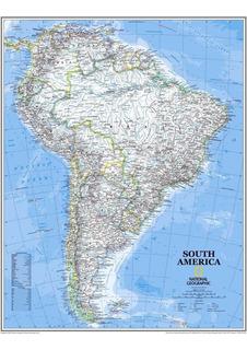 Mapa De Parede Da América Do Sul 65x90cm Para Fazer Quadro