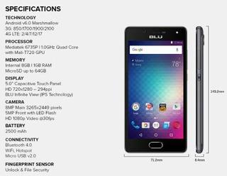 Blu Studio Touch 8mp 5 Front Flash Led 8gb Garantia 1 Año