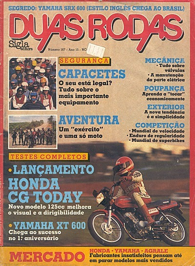 2r.167 Jul89- Yamaha Xt 600z Ténéré Honda Cg Today Válvula