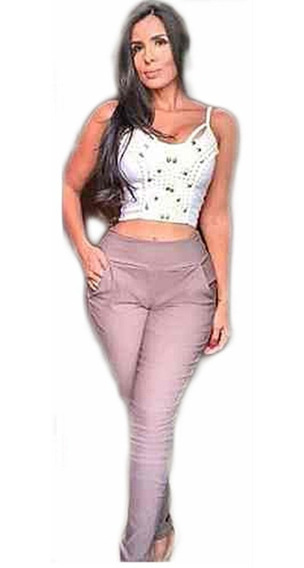 Calça Feminina Skinny Bengaline Elastano Zíper Lateral #ab