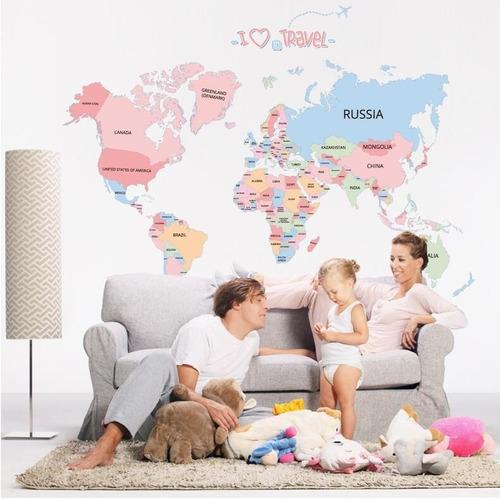 Vinilo Decorativo Sticker Mural Arte Pared - Mapa Mundo