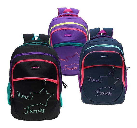 Mochila Urbana Escolar Mujer Trendy 8009 Original Acolchada