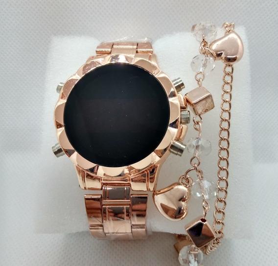 Relógio Feminino Rose Digital Led + Pulseira Brinde + Caixa