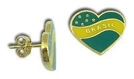 Lindo Brinco Folheado A Ouro Coração Verde E Amarelo Brasil*