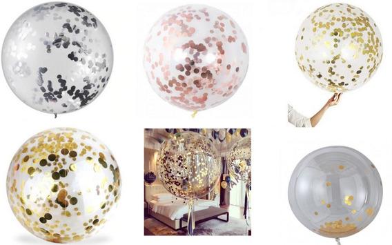 3 Globos Burbuja Pvc 55 Cm + Confeti Rosa Dorado O Plata