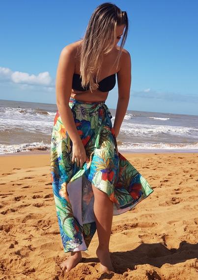 Saída De Praia Saia Pareô Clara Tropical Moda Praia 2019