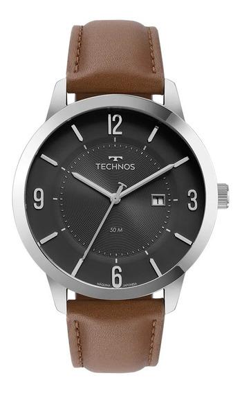 Relógio Masculino Technos Prata Com Couro Marrom 2117lcq/0p