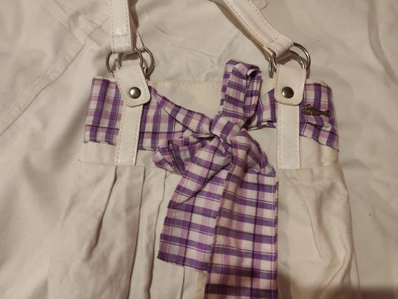 Cartera De Tela Blanca Con Moño Color Violeta