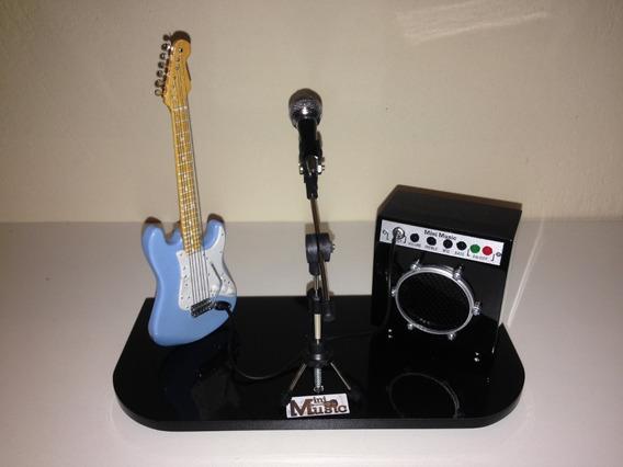 Mini Palco Guitarra Stratocaster +amplificador Pq+microfone