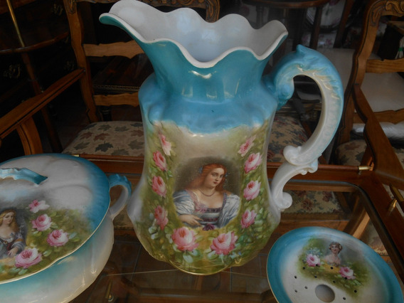 Antigua Jarra Jabonera Pelela Porcelana Limoges Francia