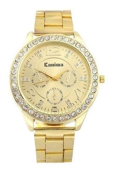 Promoção Relógio Feminino Luxo Com Cristais Kanima