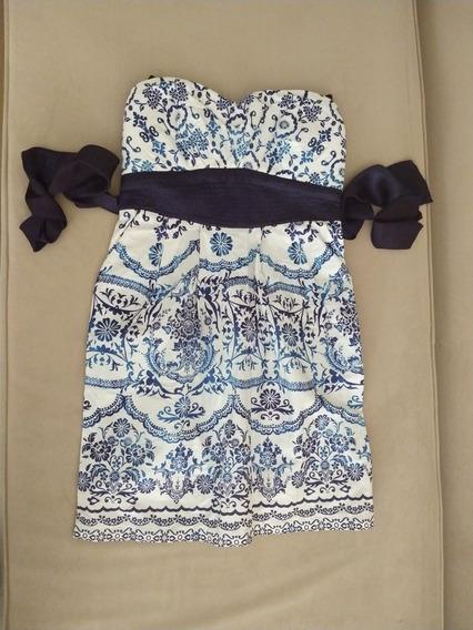 Vestido Corto Importado. Estampado Azul Con Lazo.