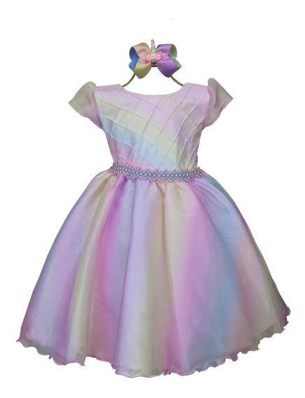 Vestido Unicórnio Arco-íris Colorido Delicado + Laço Boutiqu