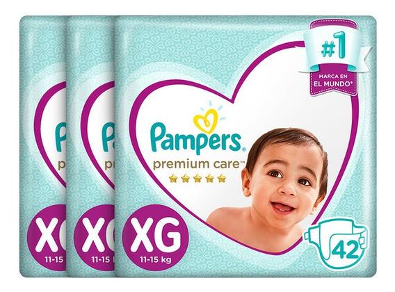 Pack X 3 Pampers Premium Care Talla Xg De 42 Unidades