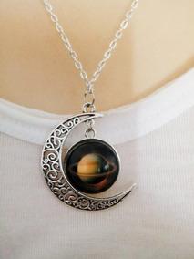 Era De Saturno,colar Esotérico Com Lua Em Alto Relevo.