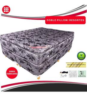 Conjunto Sommier Resortes Con Pillow. 80x190x27