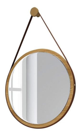 Espelho Redondo Adnet Freijó Madeira Alça De Couro 67 Cm