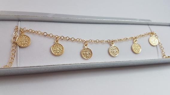 Pulseira Medalhas De São Bento. Semijóia Banhada A Ouro