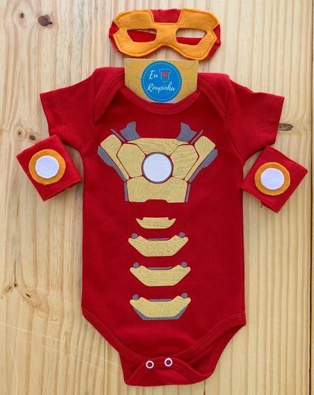 Body Homem De Ferro Bebê Máscara Braceletes Personalizado