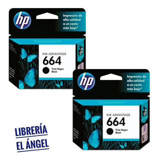 Pack 2 Cartuchos Hp 664 Original Negro 3635 3775 4535 4675