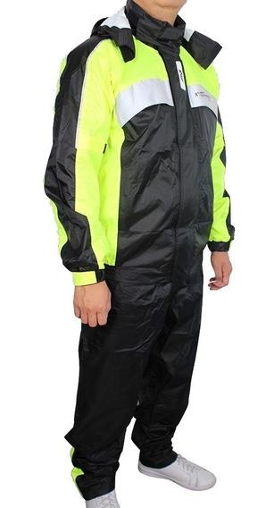 Capa De Chuva Givi Prime Nylon 100% Impermeável Preto/fluor