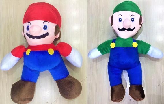2 Bonecos De Pelucia Super Mario World Bros E Luigi 34cm