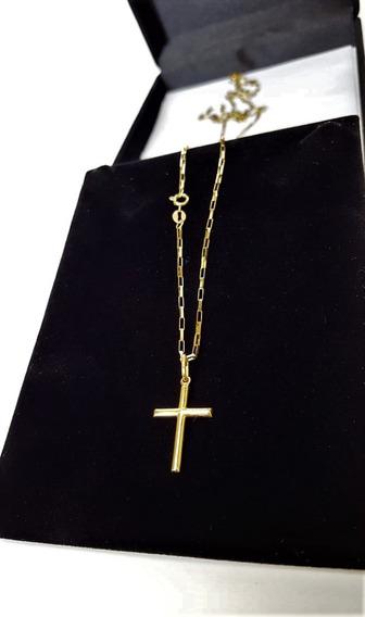 Cordão De Ouro 18k Masculino Com Pingente Crucifixo