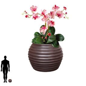 1 Vaso Flores Rosas Orquideas Arranjo Mesa Plastico B 15x20