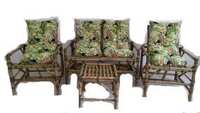 Jogo De Vime Sofa De Bambu Artesanal Sitios Chácaras Rústico