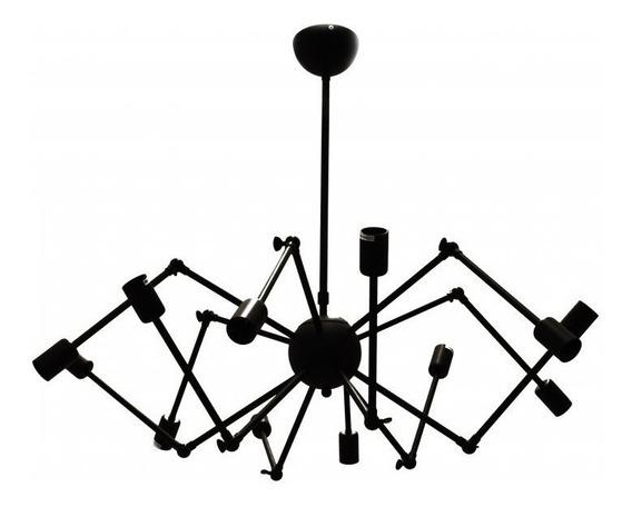 Pendente Aranha Lustre Sputinik 12 Braços + Lâmpadas Retrô
