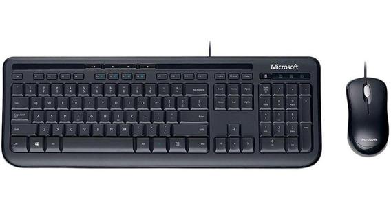 Teclado E Mouse Preto C/ Fio Usb Desktop 600 Microsoft