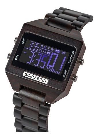 Relógio Masculino Digital Madeira Bobo Bird S301