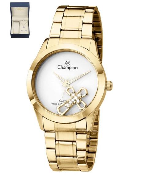 Kit Relógio Feminino Champion Elegance Dourado Ch25909w