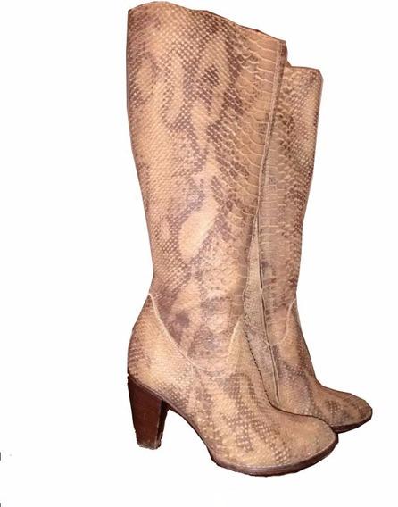 Botas Mujer Cuero Vaca Legítimo Animal Print Simil Serpiente