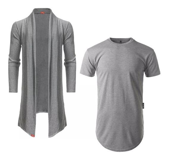 Kit Blusa De Frio Cardigan Masculino B22 + Camiseta Longlin