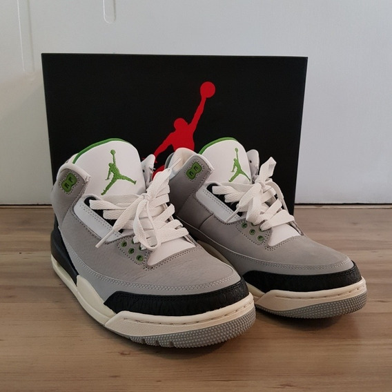 Air Jordan 3 Retro Chlorophyll Tam 39 Usado 3x 9.5/10