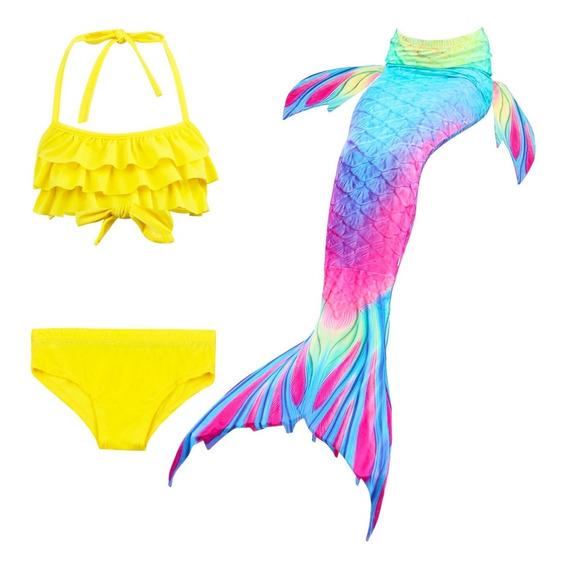 Conjunto De Bikini De 3 Piezas Con Cola De Sirena