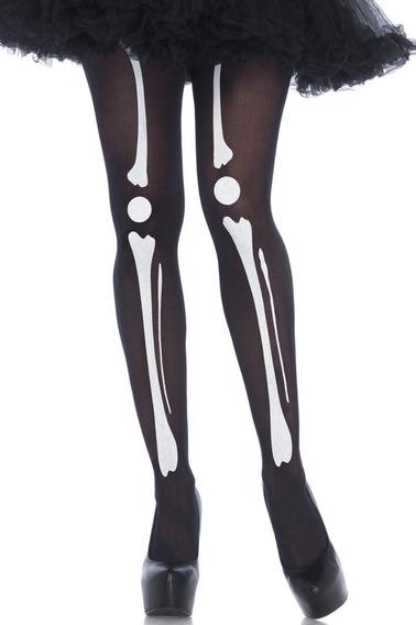 Medias Negras Esqueleto Huesos Importada - Talle Xs