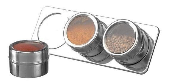 Porta Temperos Magneticos Com 3 Peças E Base Em Inox Cozinha