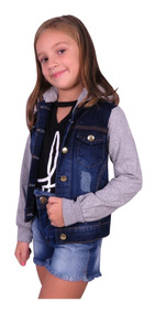 Jaqueta Jeans Infantil Juvenil Menina Com Moletom E Capuz
